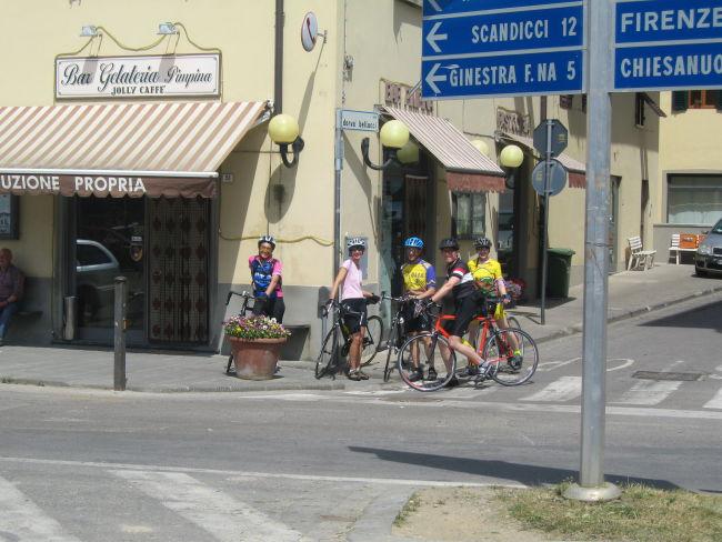 Mari Claudia Larry Barry Janet leaving espresso bar Cerbaia