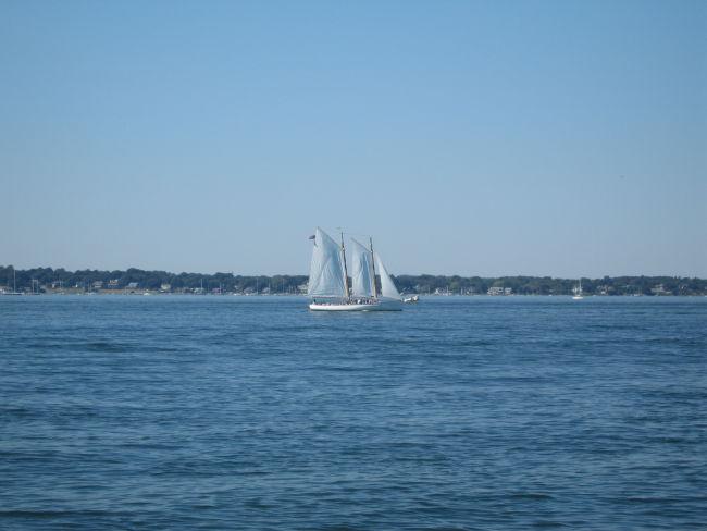 Sailboat w Jamestown Is in background