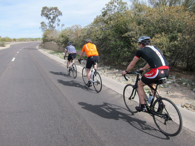 Larry pulling the group up Cave Creek Rd