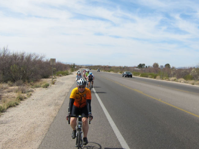 Dan leading the group up the Catalina Hwy
