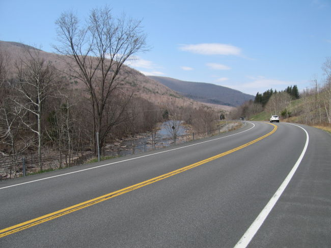 Descending on NY23A along the Schoharie Creek